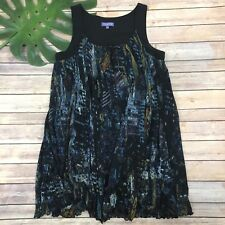 Vivienne by Vivienne Tam Shift Dress Size L Black Blue Trapeze Loose Sleeveless