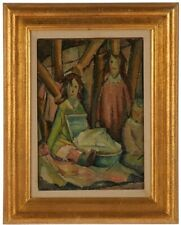 Iver Rose American (1899-1972) Important Early Original Oil WPA Style