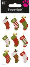 Crafts Stickers 3D Hanging Christmas Stockings Dots Stripes Gems Holly Red White
