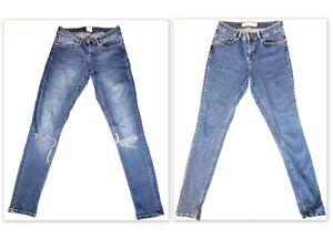 ASOS DENIM  2 X Pairs  Skinny Jeans Ripped & Plain Vintage Wash 26 28 uk 8 £60