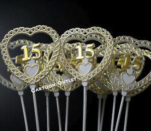 12 QUINCEANERA MIS QUINCE # 15 FLORAL PICKS PARTY FAVORS CENTER PIECE DECORATION