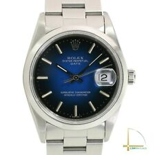 Rolex Oyster Perpetual Date Steel 15200 Blue Vignette Dial 34mm Oyster Watch