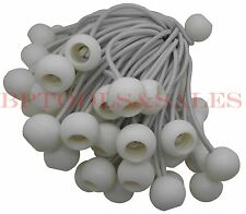 """(50) 6"""" White Ball Bungees Cord Tarp Bungee Tie Down Strap Bungi Canopy Straps"""
