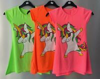 Girls Kids Unicorn Dabbing Swing dress Summer holiday Casual Top 4 to 14 years