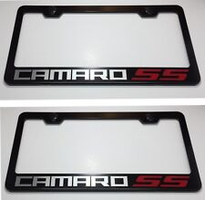 2X CAMARO w/ 2 Red SS Stainless Steel License Plate Frame Rust Free W/ Bolt Caps
