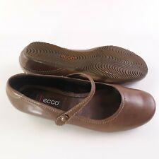 Ecco Mary Jane Flats Womens EUR 38 US 7-7.5 Brown Ballet Shoes Strap Comfy