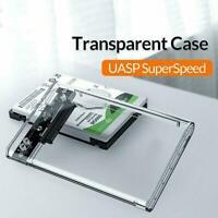 2.5 inch Transparent USB3.0 HDD Case Tool Free UASP Enclosure Drive New J6Z6