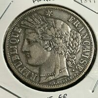 1849 FRANCE SILVER 5 FRANCS NICE CROWN COIN