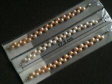 Bracelet perle de culture d'eau douce naturelle taille 17,5cm forme bouton