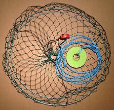 """Handmade 22"""" Collapsible 2 Ring Crab Net - Dock Pier Scoop Cast Dip Landing Net"""