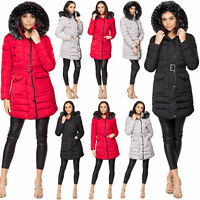 Ladies Women's Quilted Puffer Bubble Padded Fur Hooded Warm Thick Coat Jacket UK