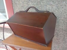 Hand made crafted Wood Sewing Box vtg Double Hinged Lid Handle Two Sided Caddy