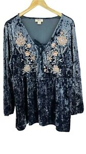 Style & Co Womens Blue Crushed Velvet Top Floral Embroidered Size X-Large V-neck