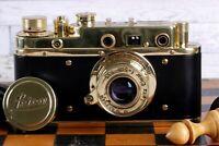 Vintage Film Leica camera D.R.P Lens Elmar f3.5/50mm GOLD FED Zorki Copy