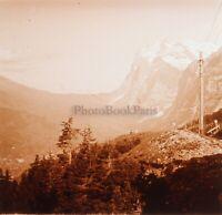 Montagne Francia Suisse Foto Stereo PL59L1n46 Placca Da Lente Vintage c1910