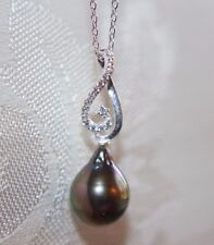 TAHITIAN BLACK BAROQUE PEARL 925 Sterling CZ Silver NECKLACE
