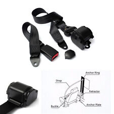 Retractable 3 Point Style Car Safety Seat Belt Lap & Diagonal Belt Black Nylon