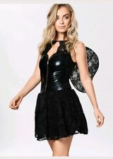 Ann Summers Fancy Dress Halloween Fallen Angel Party Black Size M Medium 12 14