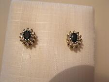 PAAR Saphir Diamant Ohrstecker GOLD 585 Saphire 1CT Diamanten 0,24 CT  FEIN