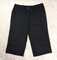 Size 22W Alfani Black Stretch Linen Culottes Capri Pants Women's Plus 2X NWT New