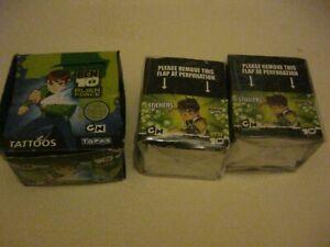 TOPPS 2 BOXES  OF TRADING STICKERS BEN 10 PLUS BOX BEN 10 TATTOOS (GREEN)