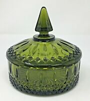 Indiana Prince Design Avocado  Green Glass Covered Candy or Vanity Dresser Dish
