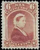 Newfoundland #35 mint VF OG HR 1870 Queen Victoria 6c dull rose CV$55.00