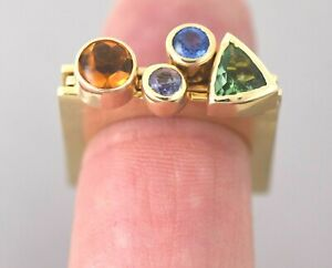 Marraccini 14K Gold Gemstone Stackable Rings 3 Piece Sz. 6 3/4