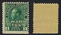 Canada Scott MR1: 1c Green King George V Admiral War Tax stamp, F-NH