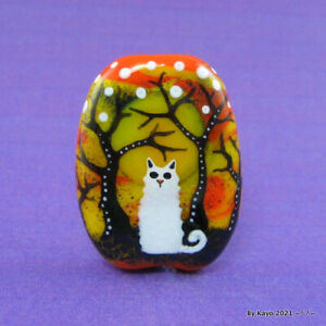 """""""SNOW WHITE"""" a handmade lampwork glass FOREST CAT pendant focal bead byKayo SRA"""
