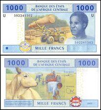 Central African States 1,000 (1000) Francs, 2002, P-612, UNC, PREFIX-U, Cameroun