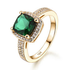 Retro Square Emerald Green Sapphire 18K Gold Filled Women Lady Engagement Rings