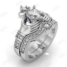 Ring Set 14k White Gold Over 3.10 Ct Heart Cut Diamond Claddagh Wedding
