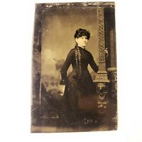 Antique (est. 1870's) Tintype - Young Woman By Column Long Hair - Unknown Studio