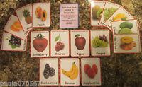 Fresh fruit & Vegetable flash cards ~ 10cm x 7cm ~ FULL colour, From ONLY £3.25