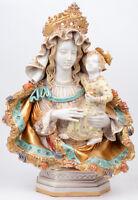 Italian Pattarino school terracotta polychrome large madonna statue religious