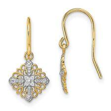 Fancy Filigree Dangle Wire Earrings In Real 14k Yellow Two Tone Gold