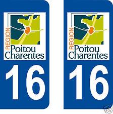 stickers autocollants plaques immatriculation auto Département Charente 16