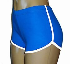 Bright Blue Retro Running Shorts with White Trim Small