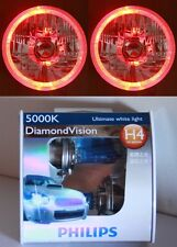 PHILIPS Hi/Lo Bulb Headlight RED LED Halo for Mustang 65 66 67 68 70 71 72