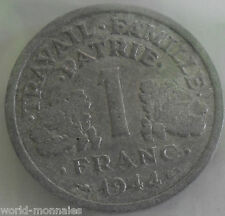 1 franc état français 1944 : TB : pièce de monnaie française