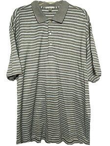 Peter Millar Polo Golf Shirt Size XXL - Gray, White & Blue Stripe