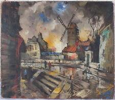 hst huile sur toile vue parisienne Moulin Rouge signée