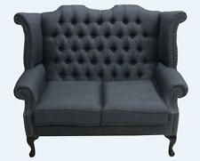 Chesterfield 2 Seater Queen Anne High Back Sofa Charles Charcoal Grey Fabric