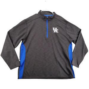 University of Kentucky Wildcats Shirt Mens Long Sleeve Gray 1/4 Zip 2XL - A2