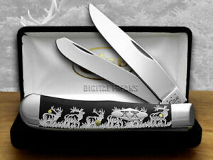 Case xx Trapper Knife Walking Elk Black Delrin 1/500 Stainless Pocket Knives
