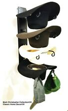 American Made Cowboy Cool Hat Rack Black with Black/Chrome Finials