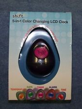 Shift3 5-in-1 Color Changing LCD Clock New In Box