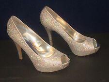 Worthington Silver Stiletto Pump 10M NEW Glitter High Heel Peep-toe Bride Prom