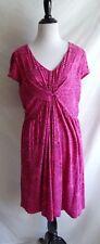 Garnet Hill 12 Pink Garden Flower Jersey Knit Party Summer Dress Twisted Bodice